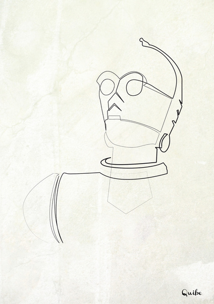 c 3po Minimal One Line Prints by Quibe