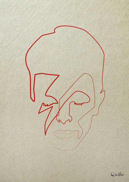 david bowie Minimal One Line Prints by Quibe