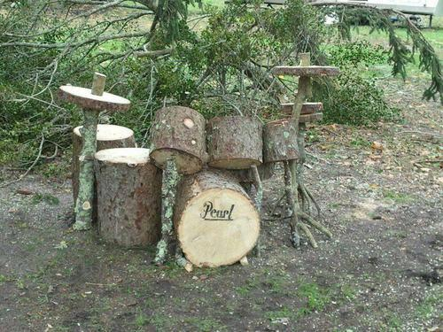 Drum set made from wood