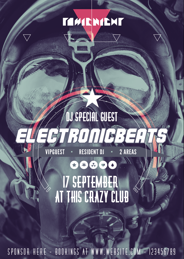 Electronic Music Party Flyer by Giallo Follow