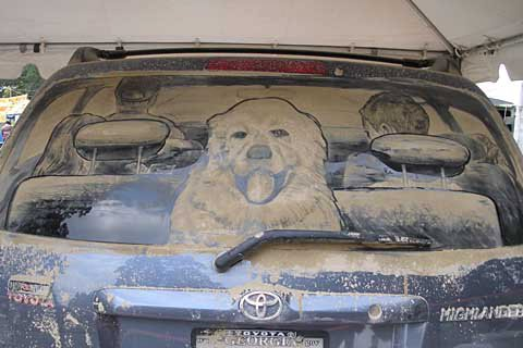 family on vacation 20 Dirty Car Artworks by Scott Wade