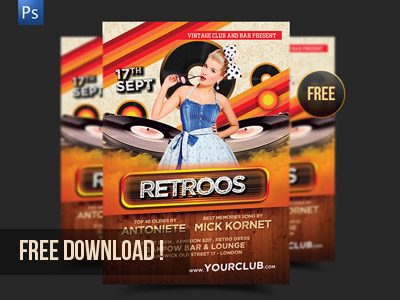 free download retro party flyer1 45 Free Retro and Vintage Design Resources