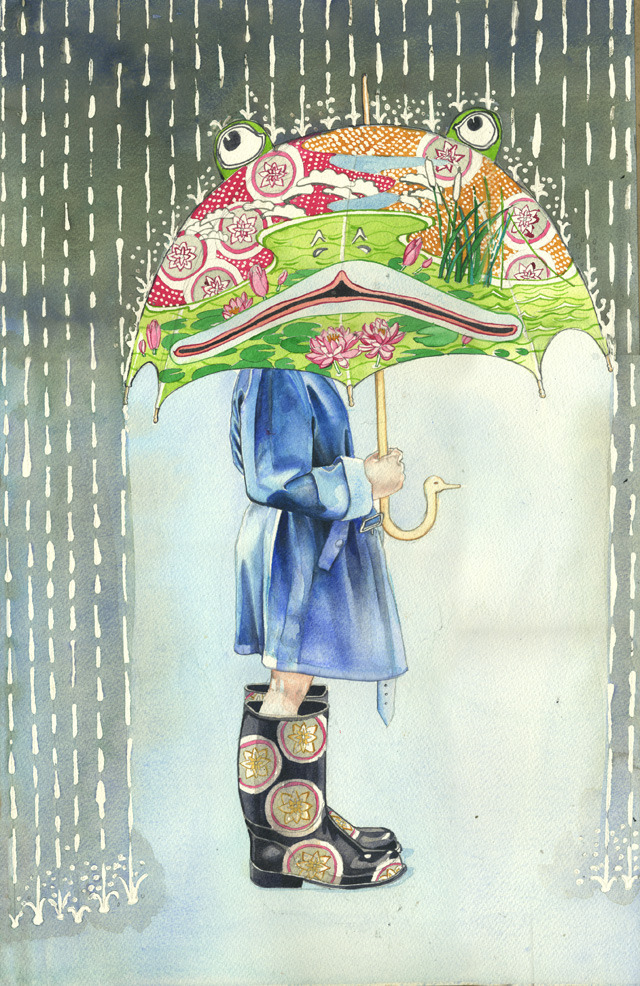 frog umbrella Psychotropic Watercolor Illustrations by Daniel Mackie