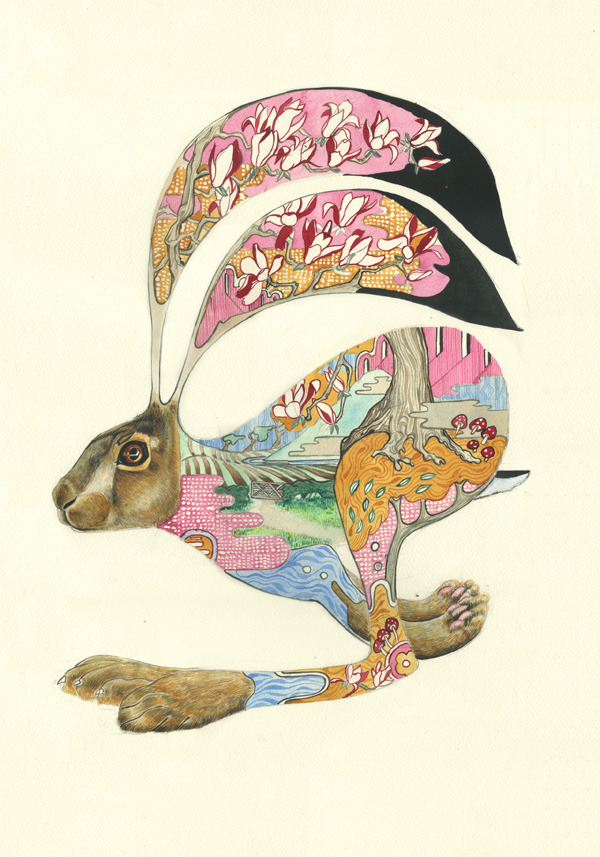 hare running Psychotropic Watercolor Illustrations by Daniel Mackie