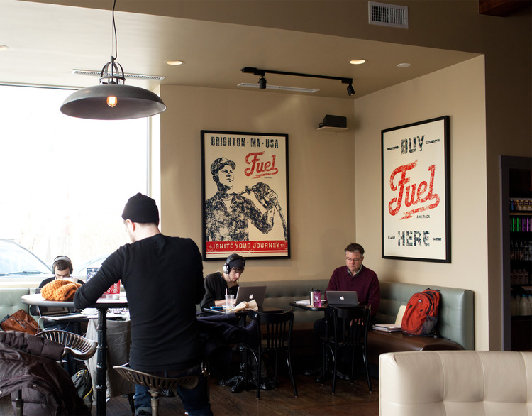 interior Branding Ascendancy: Fuel Coffee Shop in Brighton, MA.