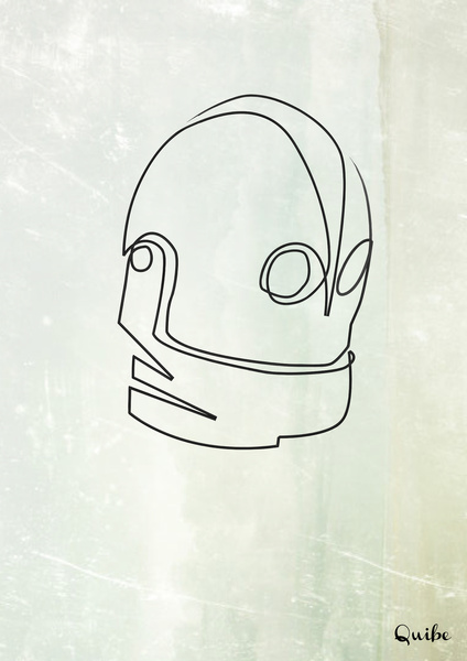 iron giant Minimal One Line Prints by Quibe