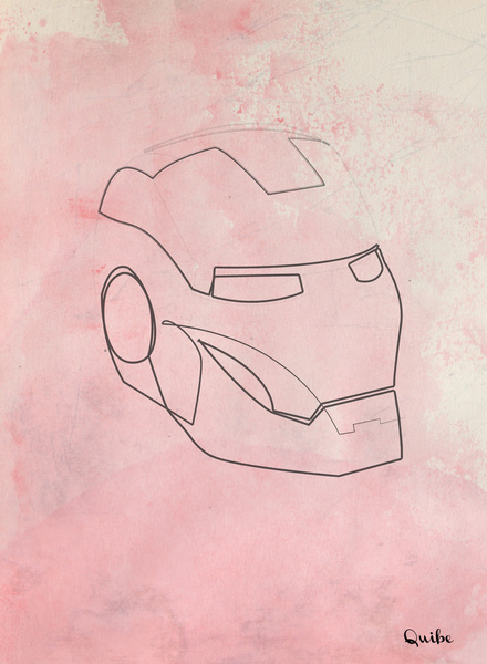 iron man Minimal One Line Prints by Quibe