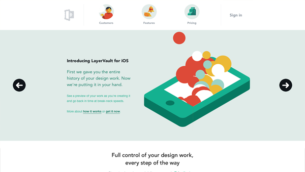 layervault1 35 Nice Examples of Flat Web Design