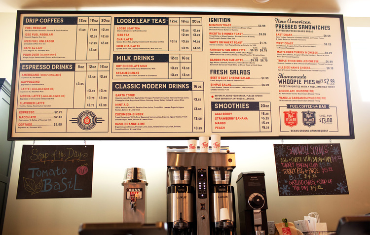 menu Branding Ascendancy: Fuel Coffee Shop in Brighton, MA.