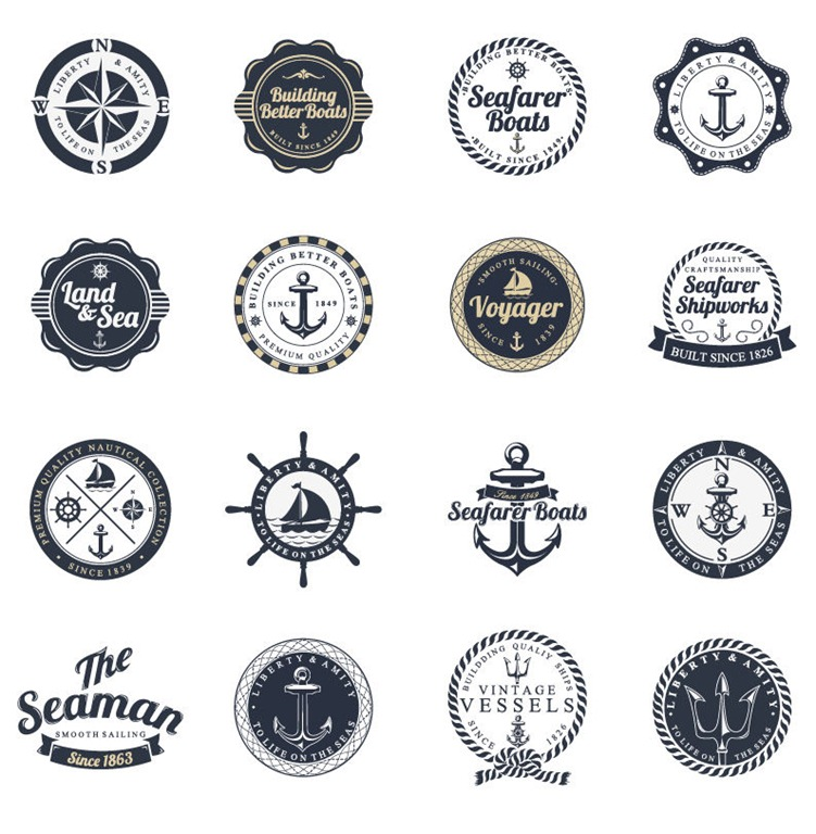 ocean and sea labels stamp vector set1 45 Free Retro and Vintage Design Resources