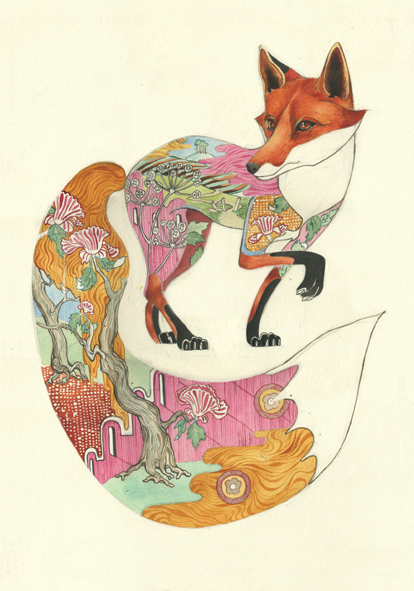 red fox print Psychotropic Watercolor Illustrations by Daniel Mackie