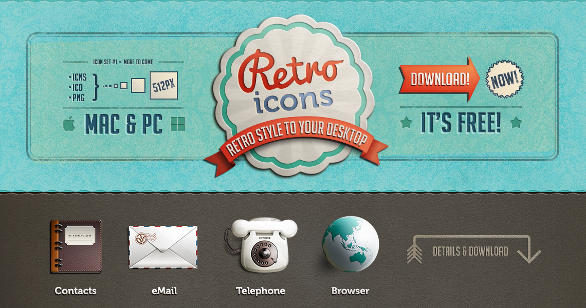 retroicons big1 45 Free Retro and Vintage Design Resources
