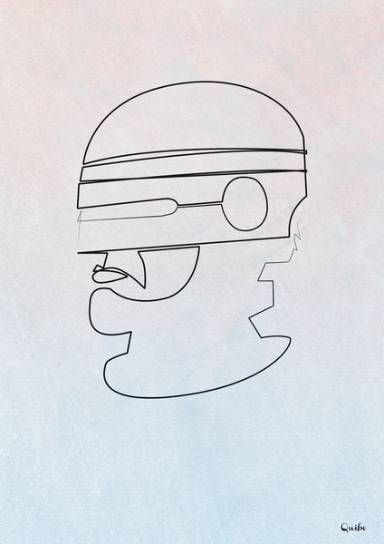 robocop Minimal One Line Prints by Quibe