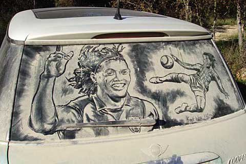 ronaldinho 20 Dirty Car Artworks by Scott Wade