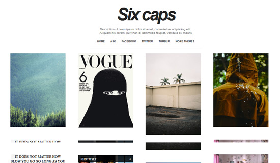sixcaps free tumblr themes1 45 Free Grid Based Tumblr Themes