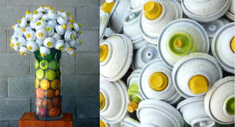 spray can bouquet0 600x3251 Trash to Treasure: 40 Creative Recycled and Repurposed Artworks