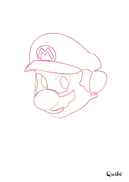 supermario Minimal One Line Prints by Quibe