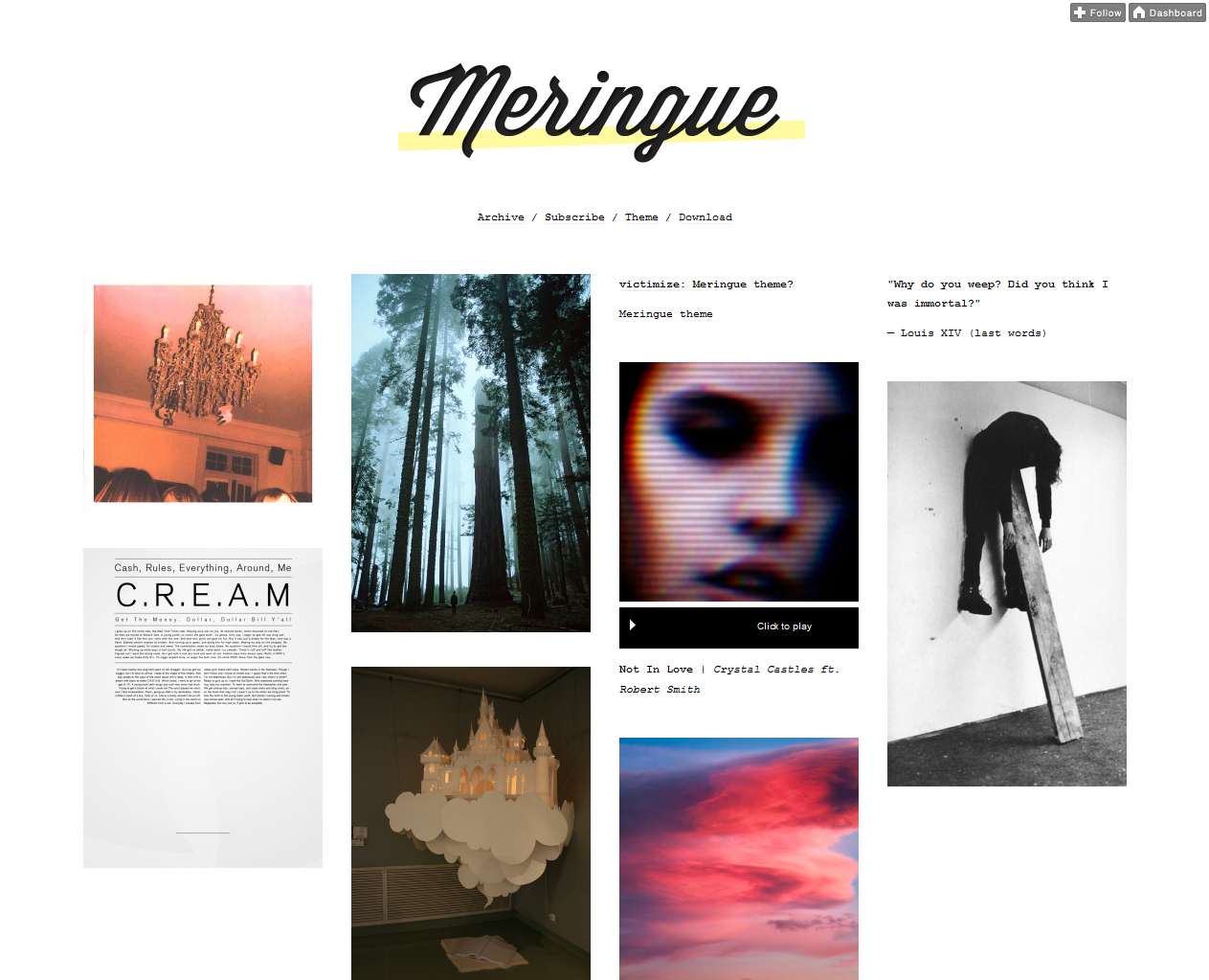 t meringue1 45 Free Grid Based Tumblr Themes