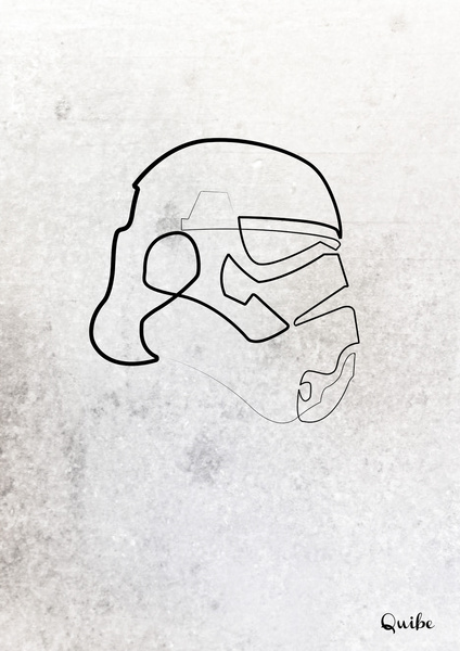 trooper Minimal One Line Prints by Quibe
