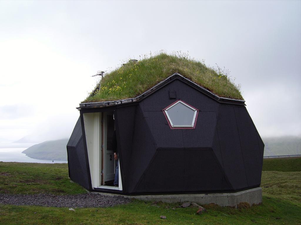 Geodesic igloo in Kivik on the Faroe Islands.
