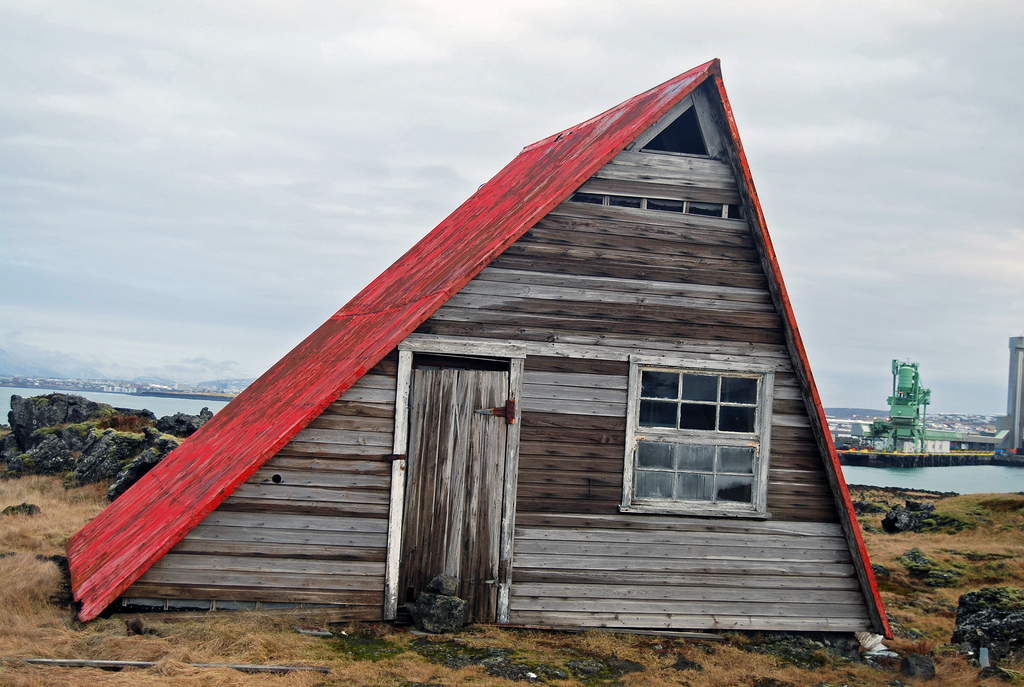 Abandoned cabin in Straumsvík, Iceland.