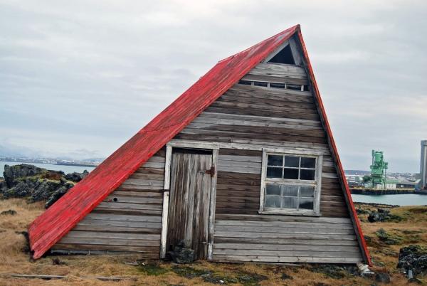 Abandoned cabin in Straumsvík, Iceland.