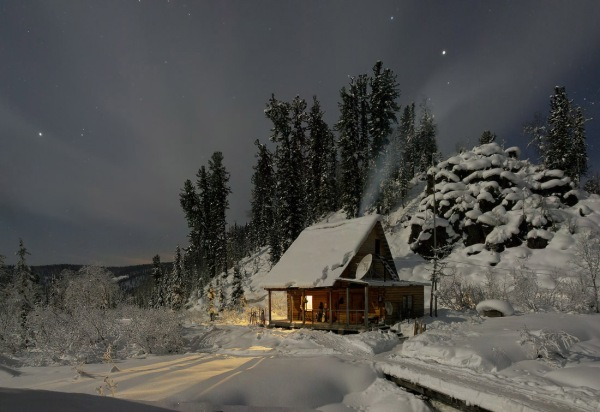 Forest Lodge in Siberia by Vasin Valery