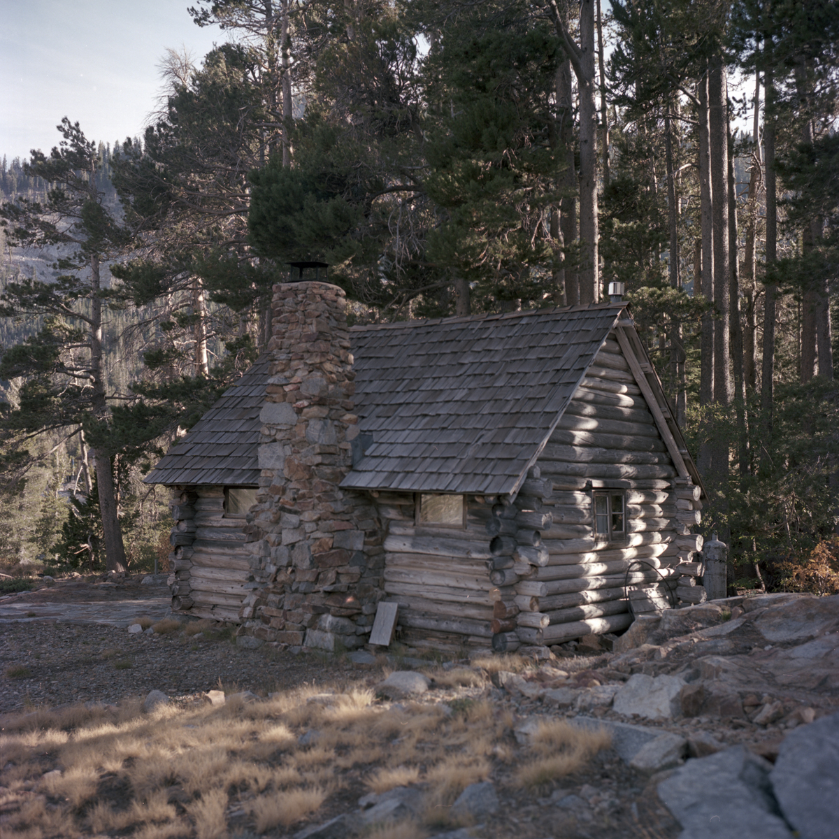 Century-old log cabin on Echo Lake, California.