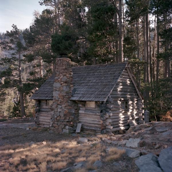 Century-old log cabin on Echo Lake, California.