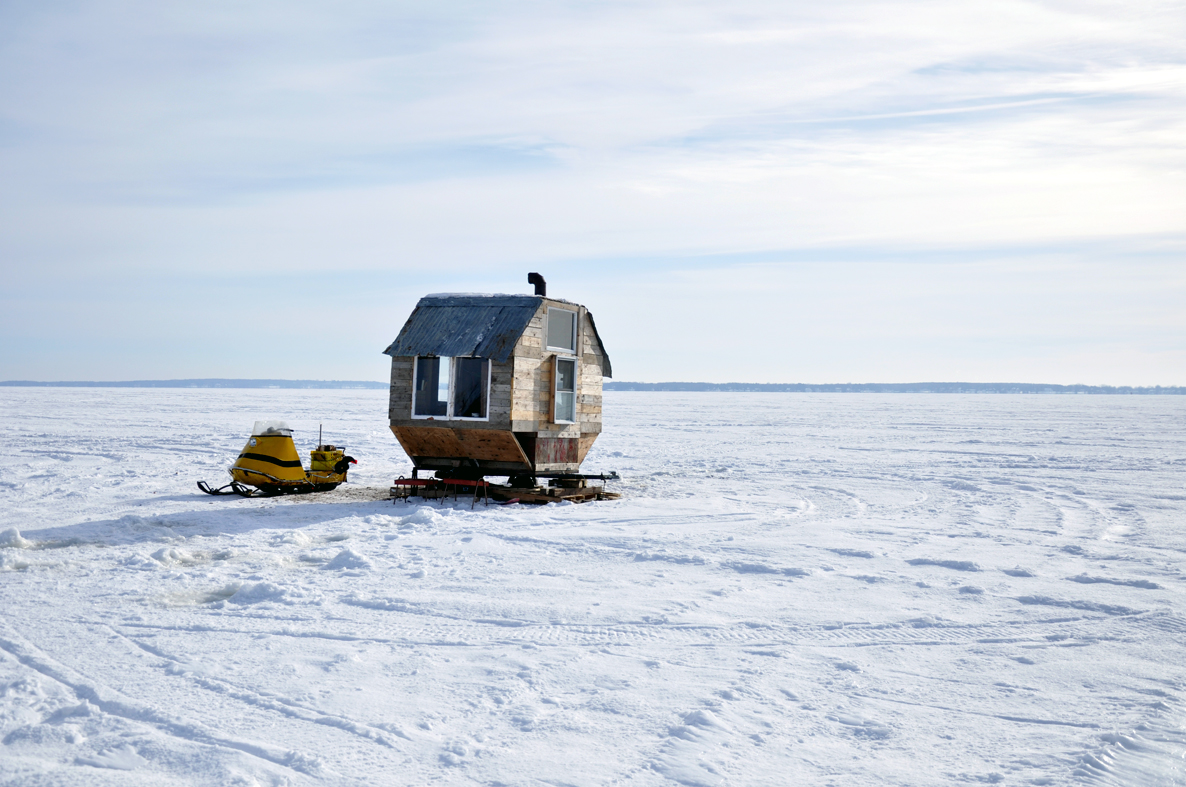 Ice fishing shack on Lake of Two Mountains, Québec.