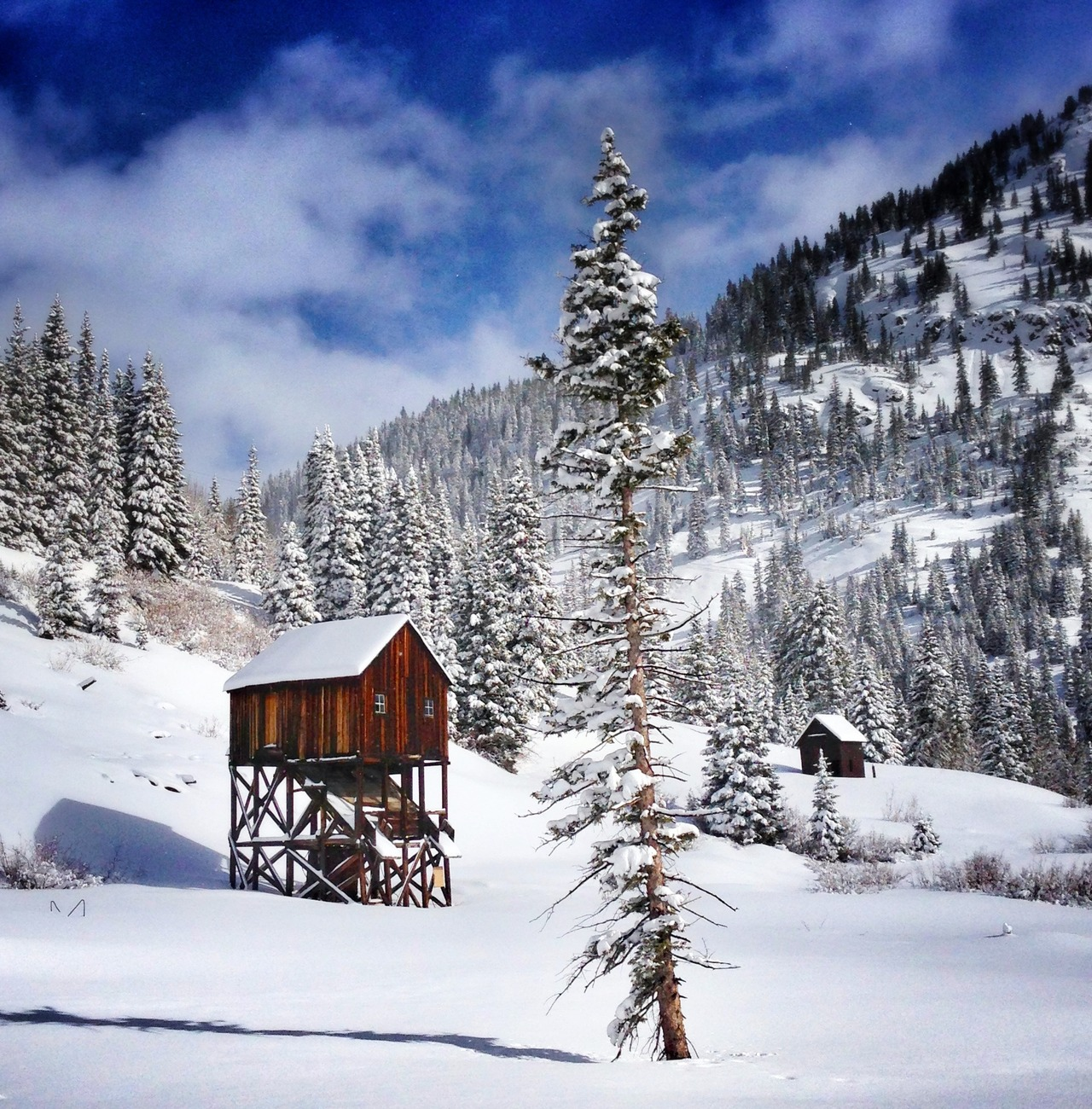 Abandoned cabin built for significant snowfall outside Silverton, Colorado.