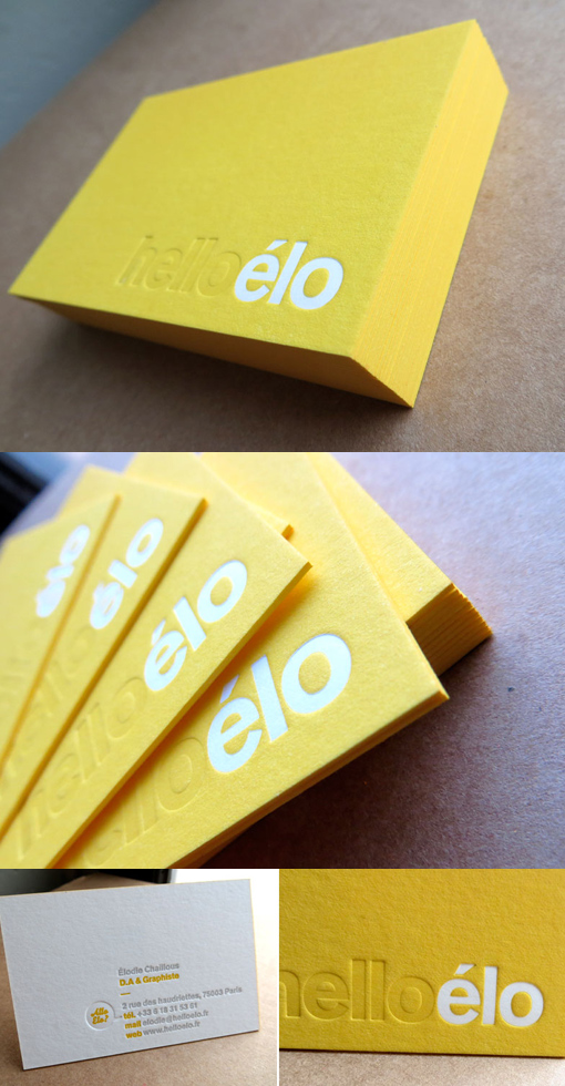 Yellow Letterpress Business Card