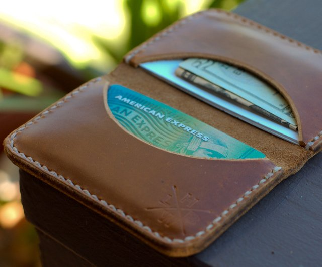Slim Leather Wallet by Hellbrand Leather