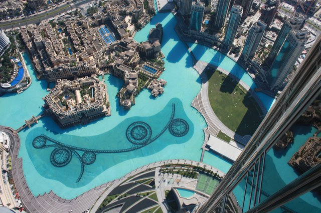 The Dubai Fountain from the Burj Khalifa Outdoor Observation Deck