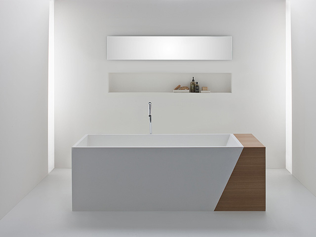 OMVIVO Latis Bath with Timber Storage End