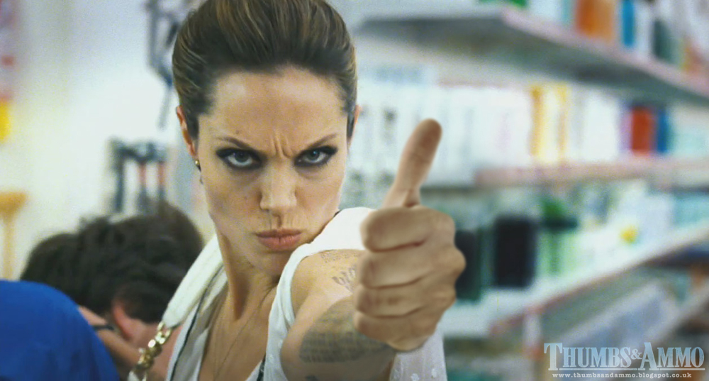 angelina thumb popof Movie Scene Guns replaced with a 'Thumbs Up'
