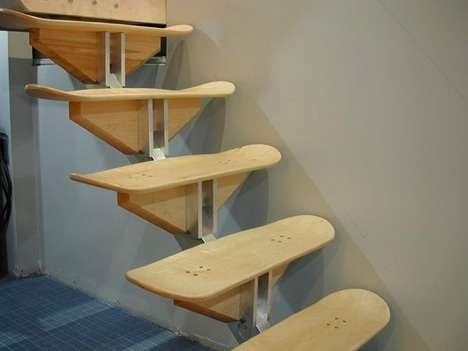 stairs made from skateboard decks