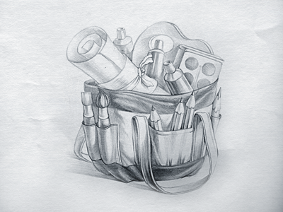Bag icon sketch by Ramotion