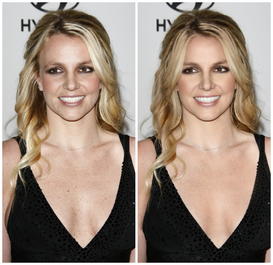 Britney Spears Retouch before after 2