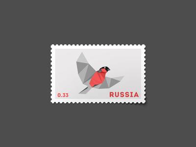 Bullfinch Stamp by David Matua