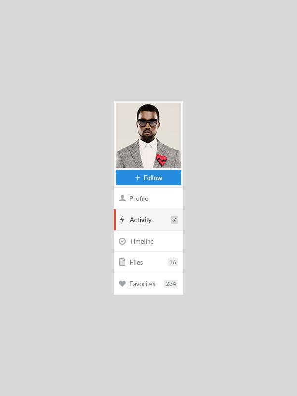 Profile Menu (Web App) by Lukas Bugla