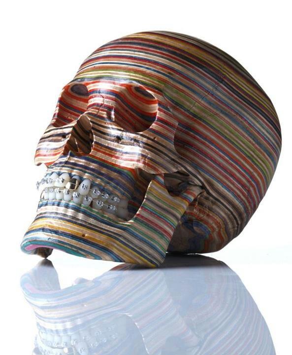 Recycled skate board deck skull.