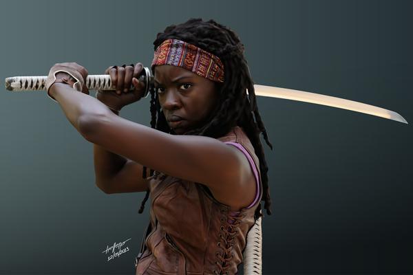 Michonne - The Walking Dead by Helleno Souza