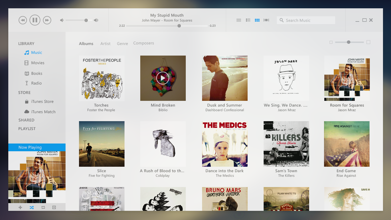 iTunes UI Redesign (with PSD) by Bluroon