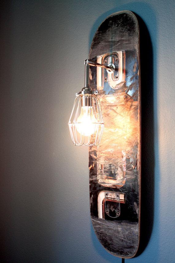 Repurposed Skateboard Sconce Lamp