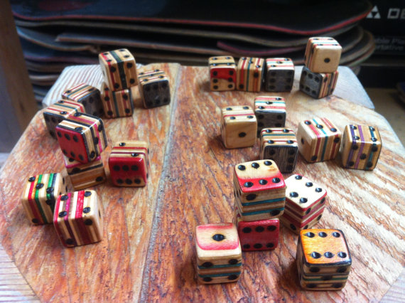 Recycled Skateboard Dice