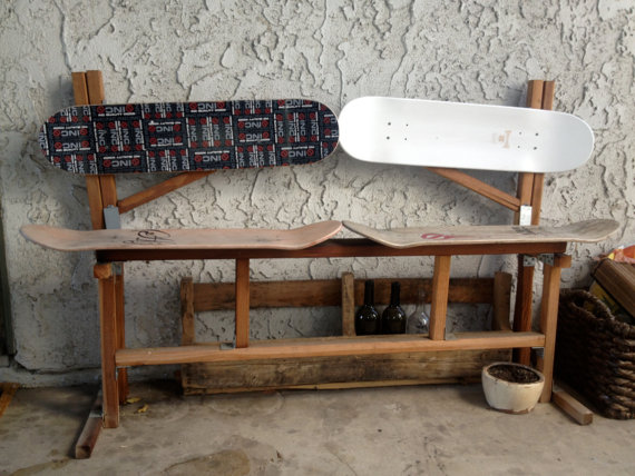 Wooden skateboard bench