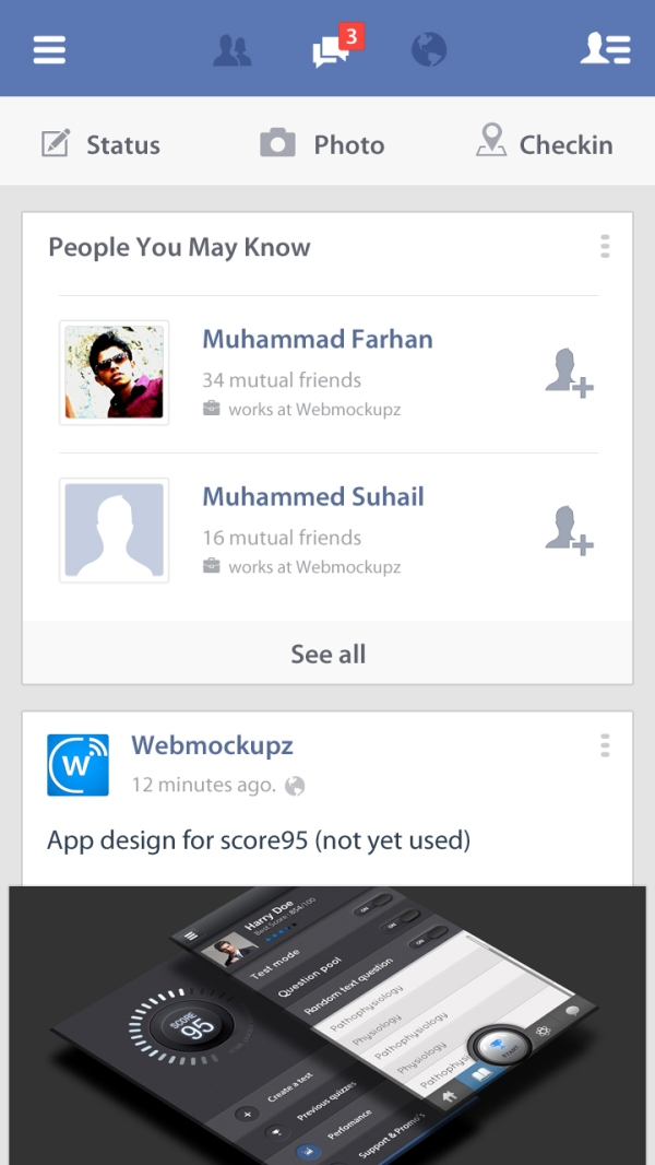 New Facebook flat UI by Webmockupz