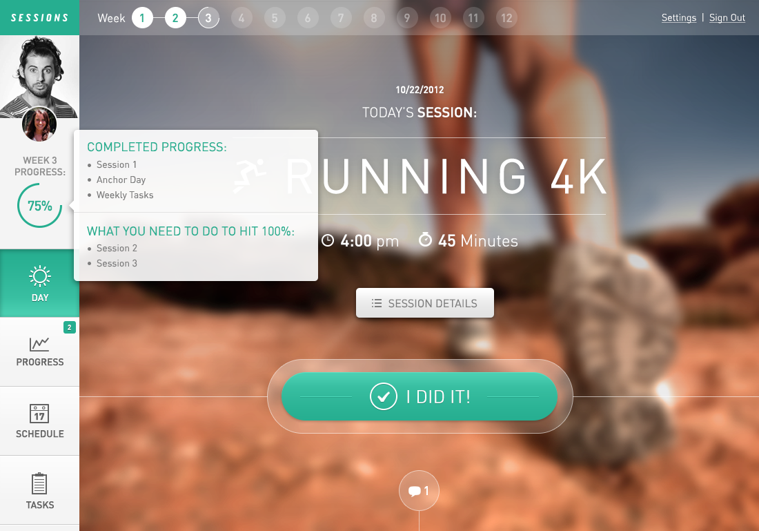 Fitness Web App: Sessions by Handsome