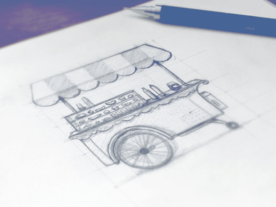 Ice cream cart sketch by Tibor Tovt